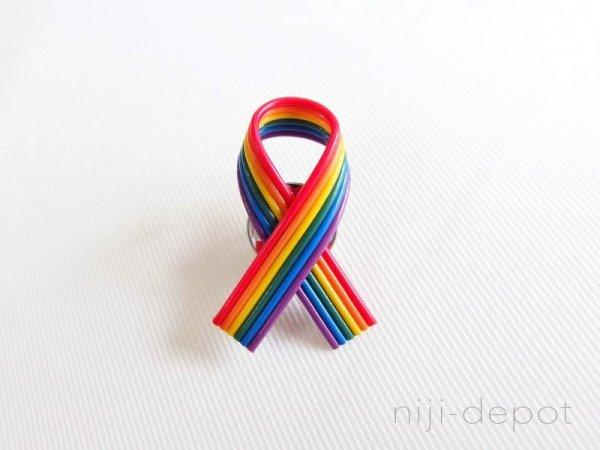 Photo1: Pride Ribbon pin badge (1)