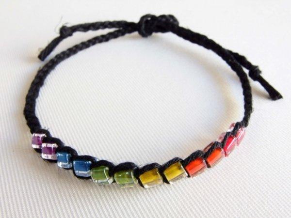Photo1: Hemp Square Rainbow Anklet (Black) (1)