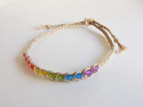 Photo1: Hemp Square Rainbow Anklet (Natural) (1)